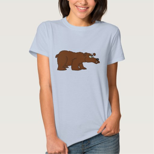Angry brown bear design t-shirt for women