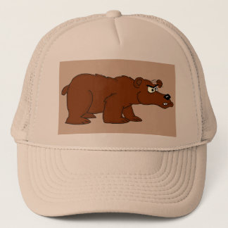 Angry brown bear design trucker caps