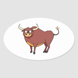 Angry Brown Cartoon Bull Oval Sticker