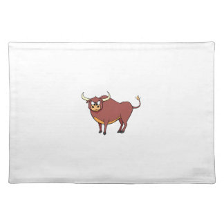 Angry Brown Cartoon Bull Placemat