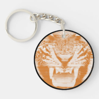 Angry Brown Tiger Horizontal Lines Single-Sided Round Acrylic Keychain