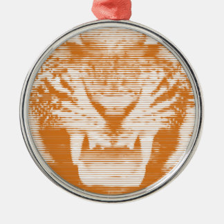 Angry Brown Tiger Horizontal Lines Metal Ornament