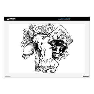 """Angry Brute Monster Man Cartoon 17"""" Laptop Decals"""