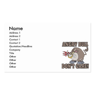 angry bull dont care funny cartoon parody business card templates
