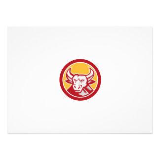 Angry Bull Head Circle Woodcut Retro Custom Announcements