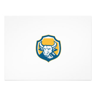 Angry Bull Head Crest Retro Woodcut Personalised Invite