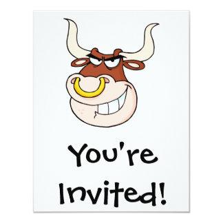angry bull head grinning cartoon card