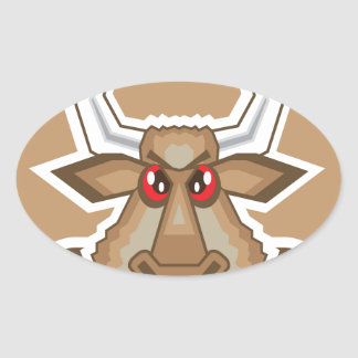 Angry Bull Oval Sticker