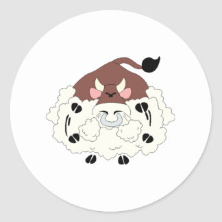 Angry Bull Round Stickers