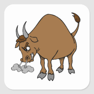 Angry Bull Square Sticker