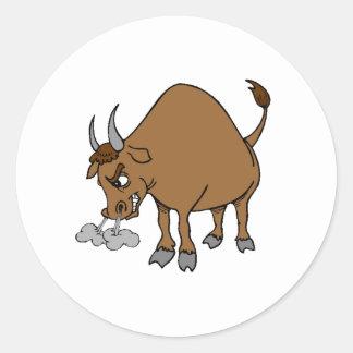 Angry Bull Round Sticker