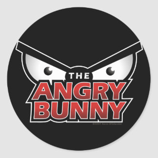Angry Bunny Abstract Classic Round Sticker