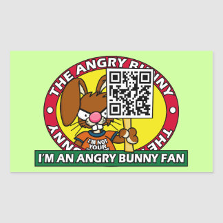 Angry Bunny Fan Rectangular Sticker