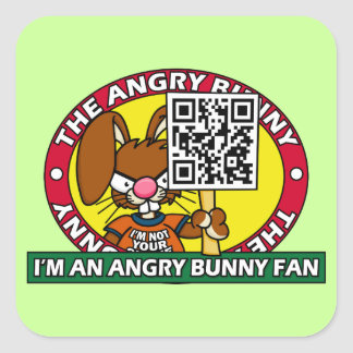 Angry Bunny Fan Square Sticker