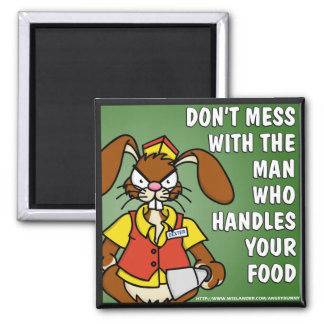 Angry Bunny Food Service Magnet