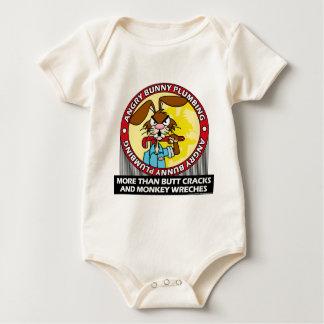 Angry Bunny Plumbing Baby Bodysuit