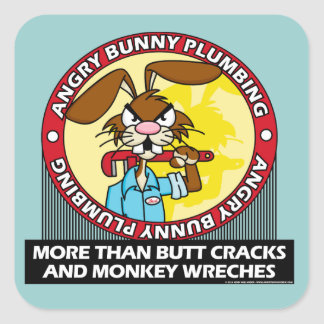 Angry Bunny Plumbing Square Sticker