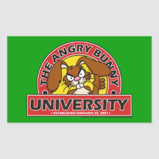Angry Bunny University Rectangular Sticker