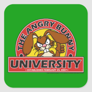 Angry Bunny University Square Stickers