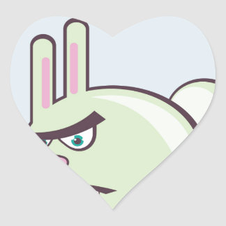 Angry Bunny Vector Icon Heart Sticker