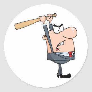 Angry Businessman With Baseball Bat Classic Round Sticker