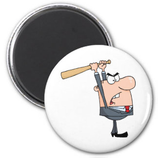 Angry Businessman With Baseball Bat Magnet