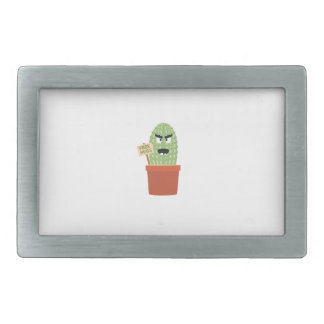 Angry cactus with free hugs rectangular belt buckle