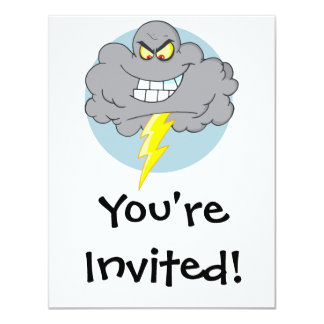 Angry Cartoon Black Cloud With Lightning Card