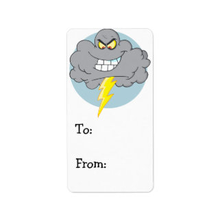 Angry Cartoon Black Cloud With Lightning Label