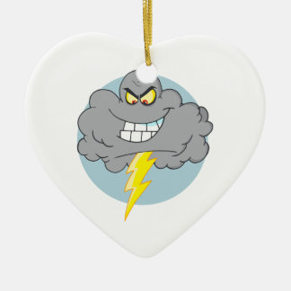 Angry Cartoon Black Cloud With Lightning Christmas Ornaments