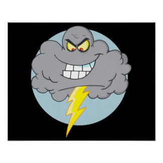 Angry Cartoon Black Cloud With Lightning Posters