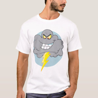 Angry Cartoon Black Cloud With Lightning T-Shirt