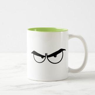 Angry Cartoon Eyes; Cool Two-Tone Coffee Mug