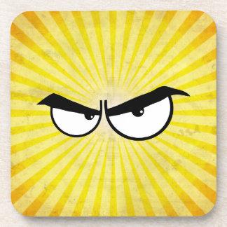Angry Cartoon Eyes Beverage Coasters