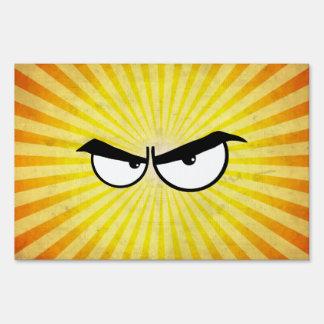 Angry Cartoon Eyes Sign