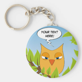 Angry cartoon owl - multiple colors key chain