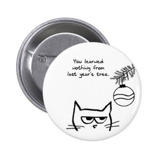 Angry Cat and the Christmas Tree 2 Inch Round Button