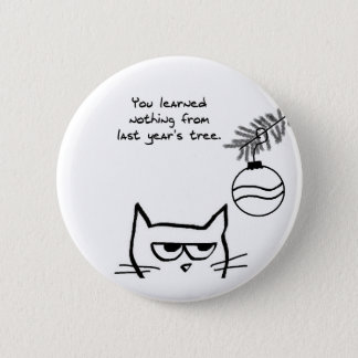 Angry Cat and the Christmas Tree Button