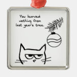 Angry Cat and the Christmas Tree. Metal Ornament