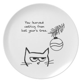Angry Cat and the Christmas Tree. Plate