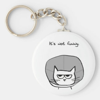 Angry Cat and the Cone of Shame Keychain