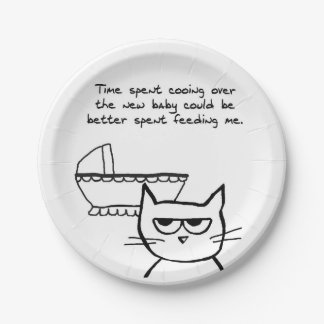 Angry Cat and the New Baby - Funny Baby Shower 7 Inch Paper Plate