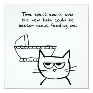 """Angry Cat and the new Baby 5.25"""" Square Invitation Card"""