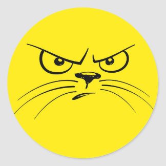Angry Cat Cartoon Face, Yellow Classic Round Sticker