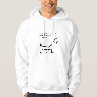 Angry Cat Chews up your Power Cords Hooded Sweatshirt