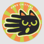 Hand shaped Angry Cat Classic Round Sticker