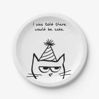 Angry Cat Demands Cake - Funny Special Occasions Paper Plate