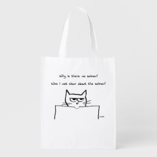 Angry Cat Demands Salmon Reusable Grocery Bag