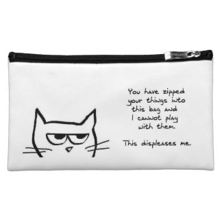 Angry Cat Doesn t Like Zipped Bags Cosmetics Bags