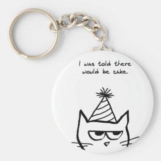 Angry Cat Hates Birthdays Keychain